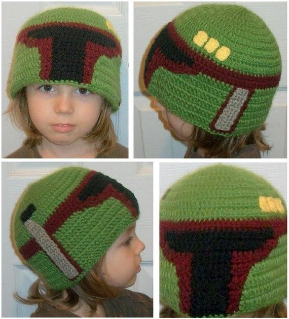 Boba Fett (or Jango Fett) Crochet Hat = wish I knew someone who could crochet, this would be awesome for my bro-in law