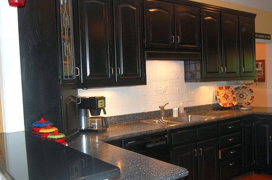 black antique cabinets google search - Black Kitchen Cabinets Pictures