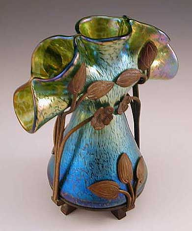 Loetz Art Nouveau Irridescent Glass Vase with Bronze Mount