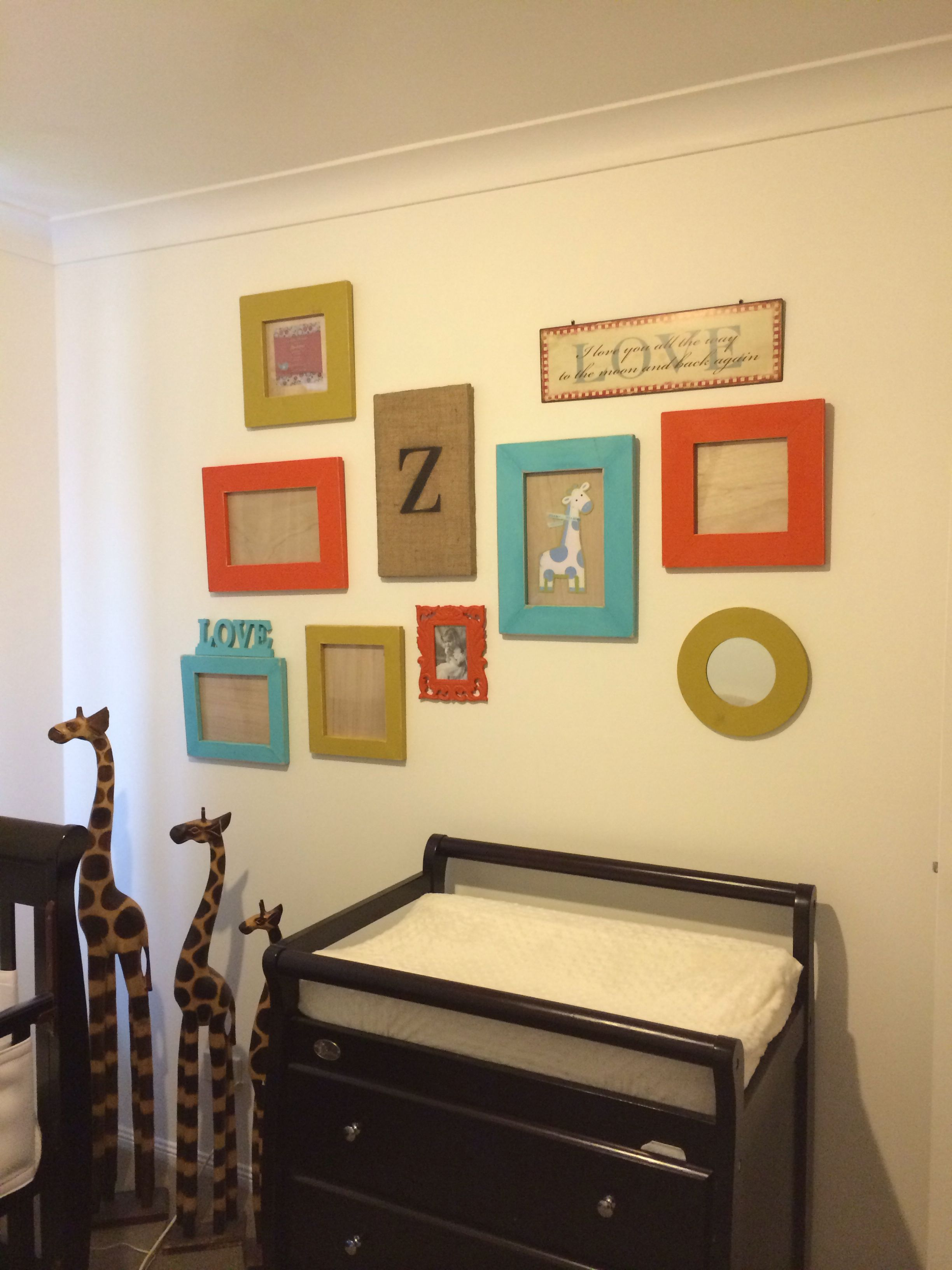Bright colourful picture feature wall with homemade frames bright colourful picture feature wall with homemade frames nursery its almost done now just jeuxipadfo Images