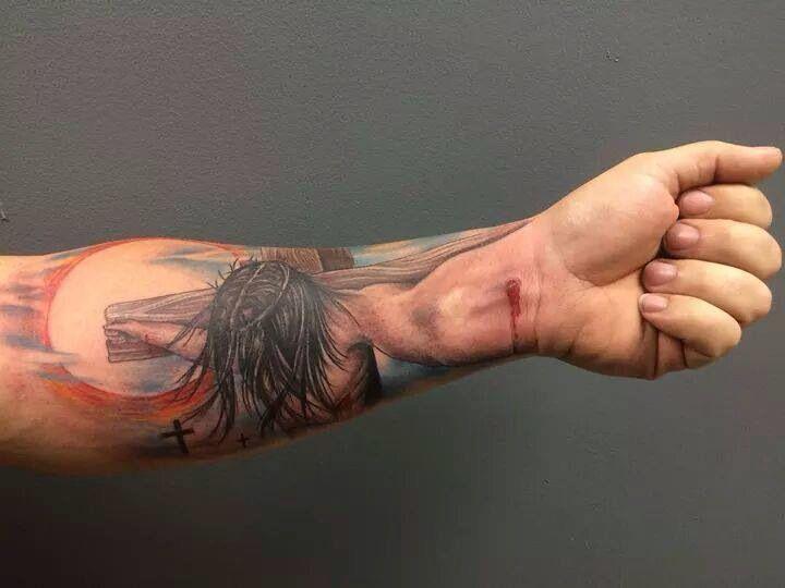 e3b4a30e7 Awesome perspective tattoo! Crucifixion tattoo Jesus tattoo religious tattoo  sleeve tattoo