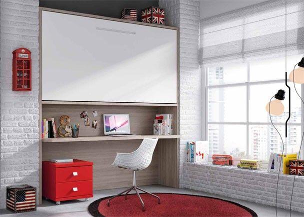 Habitaci n con cama abatible alta y escritorio camas - Habitaciones juveniles camas abatibles horizontales ...