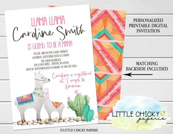 Pink Llama baby shower invitation with diaper raffle cards and books for baby cards