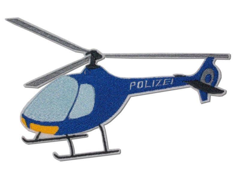 Xl Police Helicopter Embroidered Applique Hubschrauber Polizei Applikationen