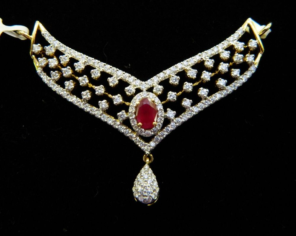 Cts diamondruby u k yellow gold mangalsutranecklace in