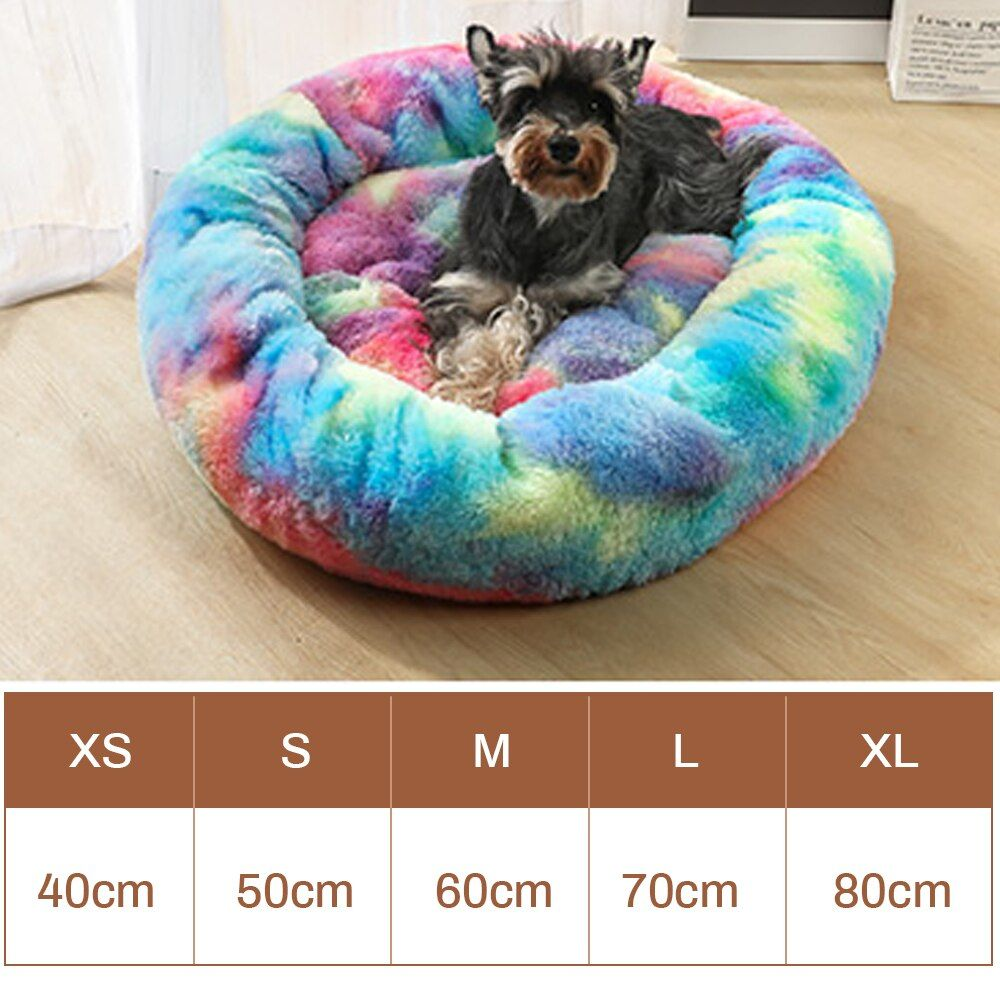 Pet Cat Bed Long Plush Super Soft Cat Beds Round Cat Mat Dog House Self Warming Plush Cushion Bed Dog Bed Kennels In 2020 Large Dog Sweaters Dog Sweaters Big Dog Beds