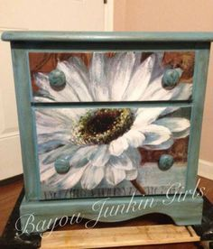 Side table painted and decoupaged