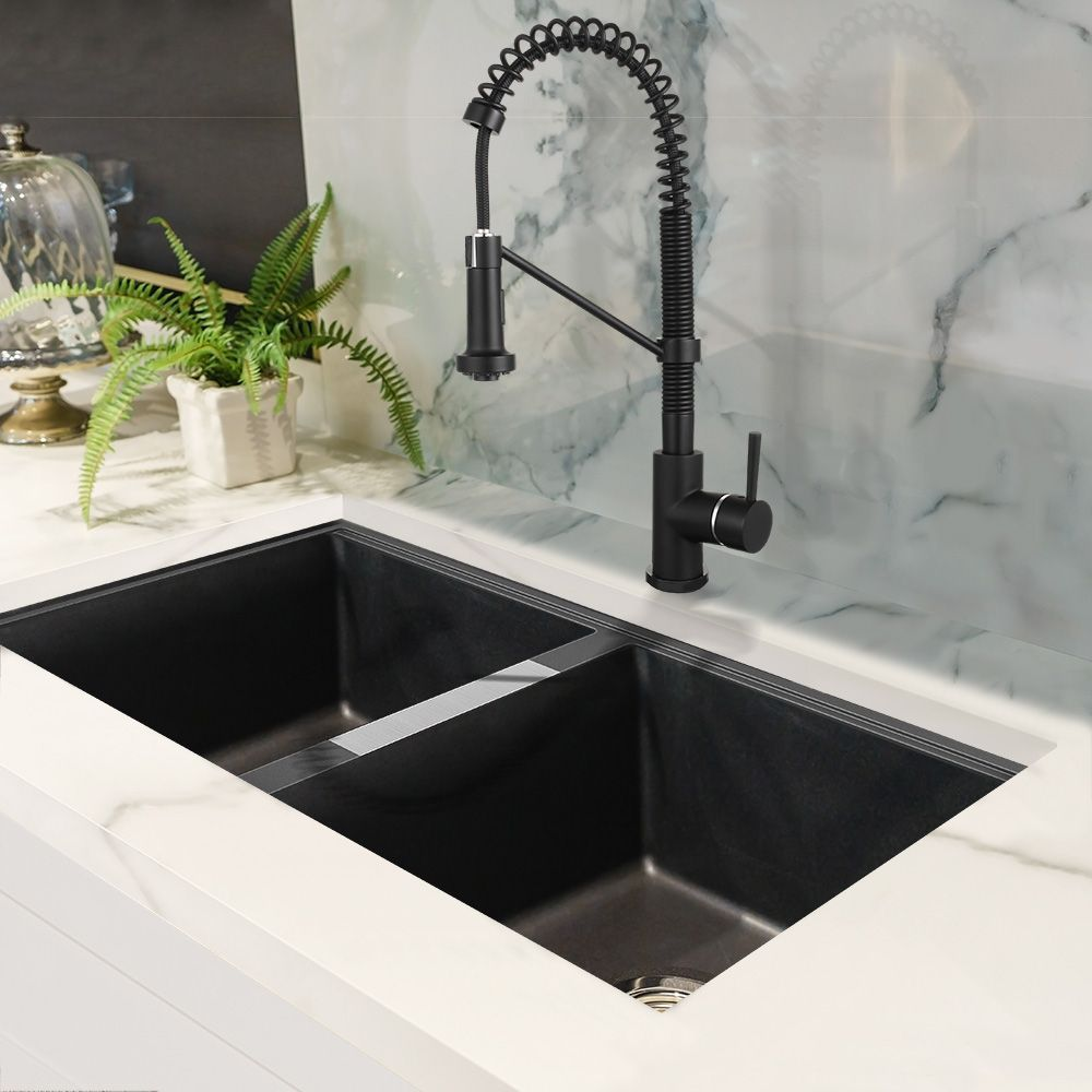 Double Black Granite Kitchen Sink And Black Chef Style Faucet Blackkitchensink Kitchen Sink Design Black Granite Kitchen Granite Kitchen Sinks
