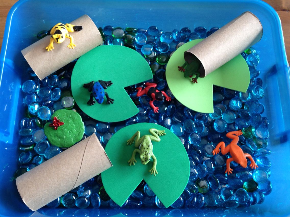 Frog Pond Sensory Bin - it contains blue and green gems, Safari ...