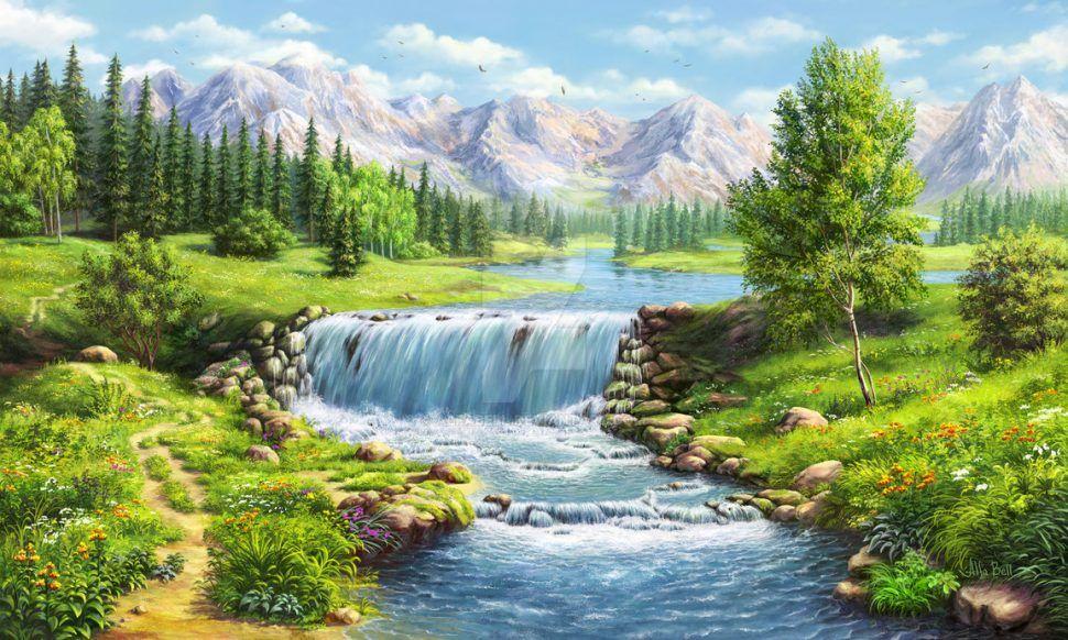 Furniture Ideas Landscape With Waterfall By Alfabell On Deviantart Paisagem Tela Landscape Waterfalls Selaleler Resimler Resim Sanati