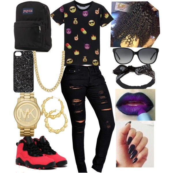 EMOJIS by xbabyxdesx on Polyvore featuring polyvore fashion style Boohoo JanSport Michael Kors Thalia Sodi Pieces MARC BY MARC JACOBS Wet Seal