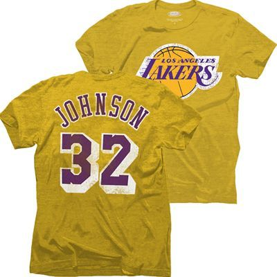 Los Angeles Lakers Nba Magic Johnson 32 Name Number Triblend T Shirt Gold Magic Johnson Sport Outfits Los Angeles Lakers
