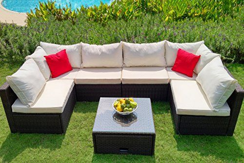 Weatherproof Outdoor Patio 7 Piece Furniture Set With Coffee Table All Wea Weatherproof Outdoor Furniture Pallet Patio Furniture Diy Diy Patio Furniture Cheap