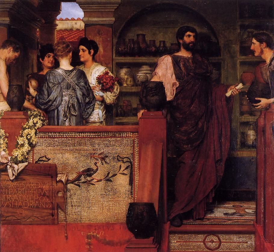 Page: Hadrian Visiting a Romano British Pottery  Artist: Sir Lawrence Alma-Tadema  Completion Date: 1884  Style: Romanticism  Genre: history painting  Technique: oil  Material: canvas