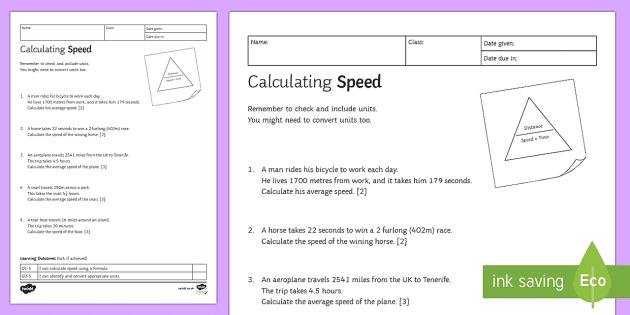 KS3 Calculating Speed Homework Activity Sheet Homework speed – Calculating Average Speed Worksheet