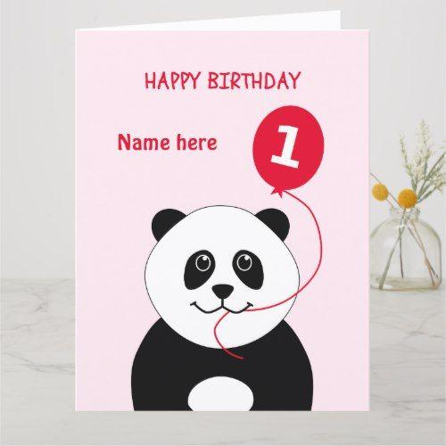 Cute 1st birthday panda add name pink card