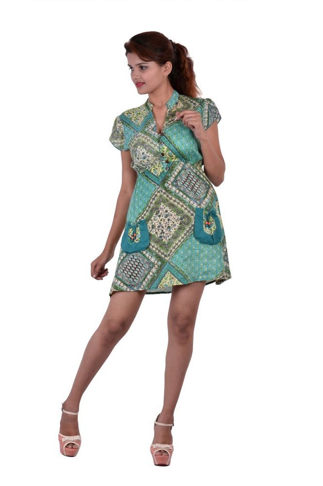 Rayon Printed C Green Color Dress Kurti Tunic Summer Casual Size S