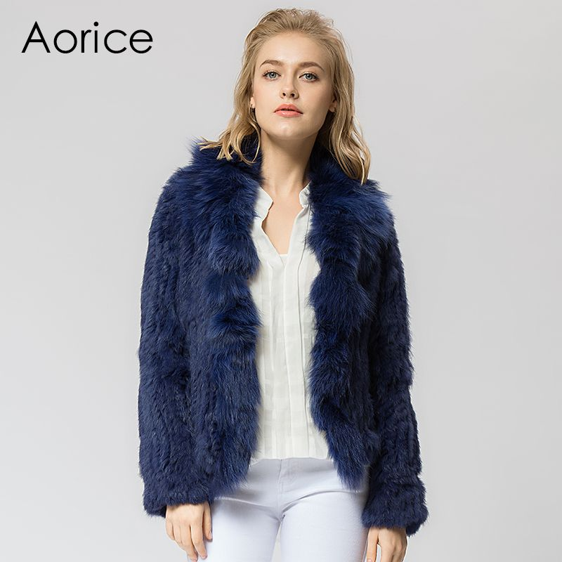 CR072 Knitted real rabbit fur coat overcoat jacket with fox fur ...