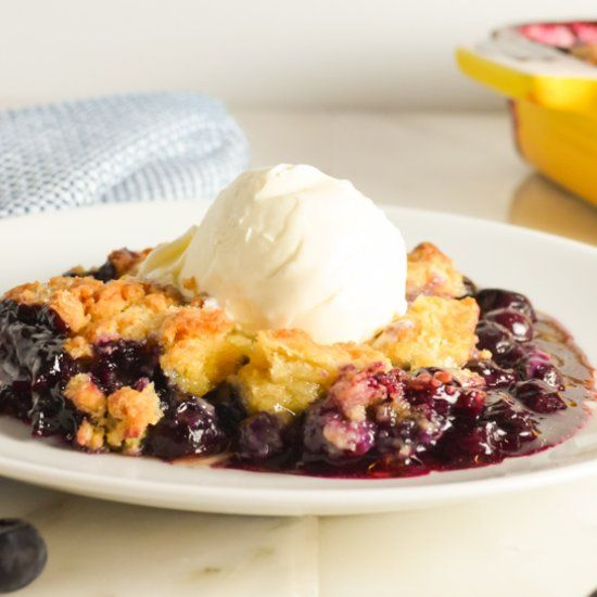 Blueberry Cobbler from scratch in under 10 minutes to assemble!
