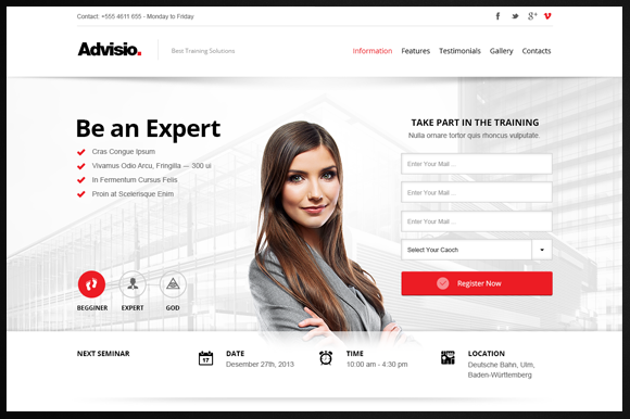 Advisio  Marketing Landing Page By Webuza On Creative Market