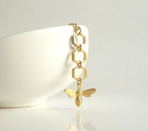 Bee Honeycomb Necklace - gold brass honey bee charm dangles from brass hexagons on gold plated delicate chain - BUZZ