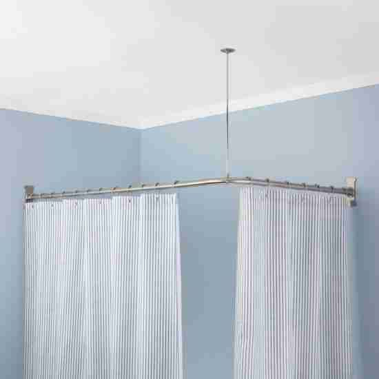 Adjustable L Shaped Shower Curtain Rod Brushed Nickel With Images