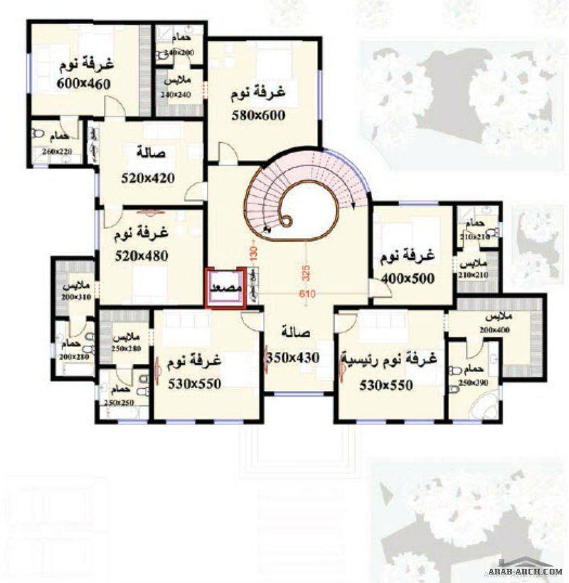 مخطط الفيلا رقم التصميم H4 من مبادرة بيتى 745 متر مربع 7 غرف نوم Architectural House Plans Model House Plan 2bhk House Plan