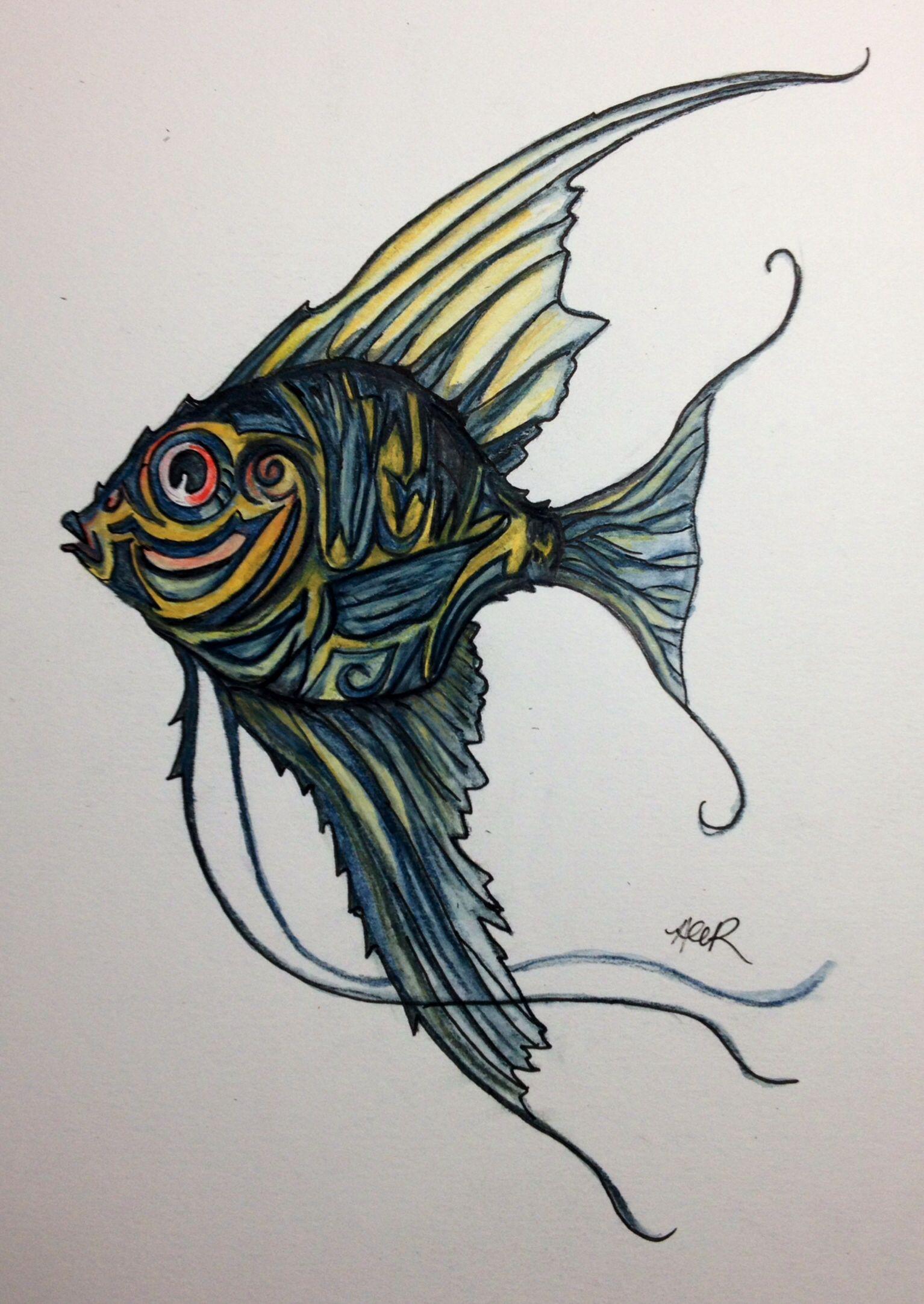 angelfish tattoo design my artwork pinterest angelfish tattoo rh pinterest com Caribbean Blue Angelfish Caribbean Blue Angelfish