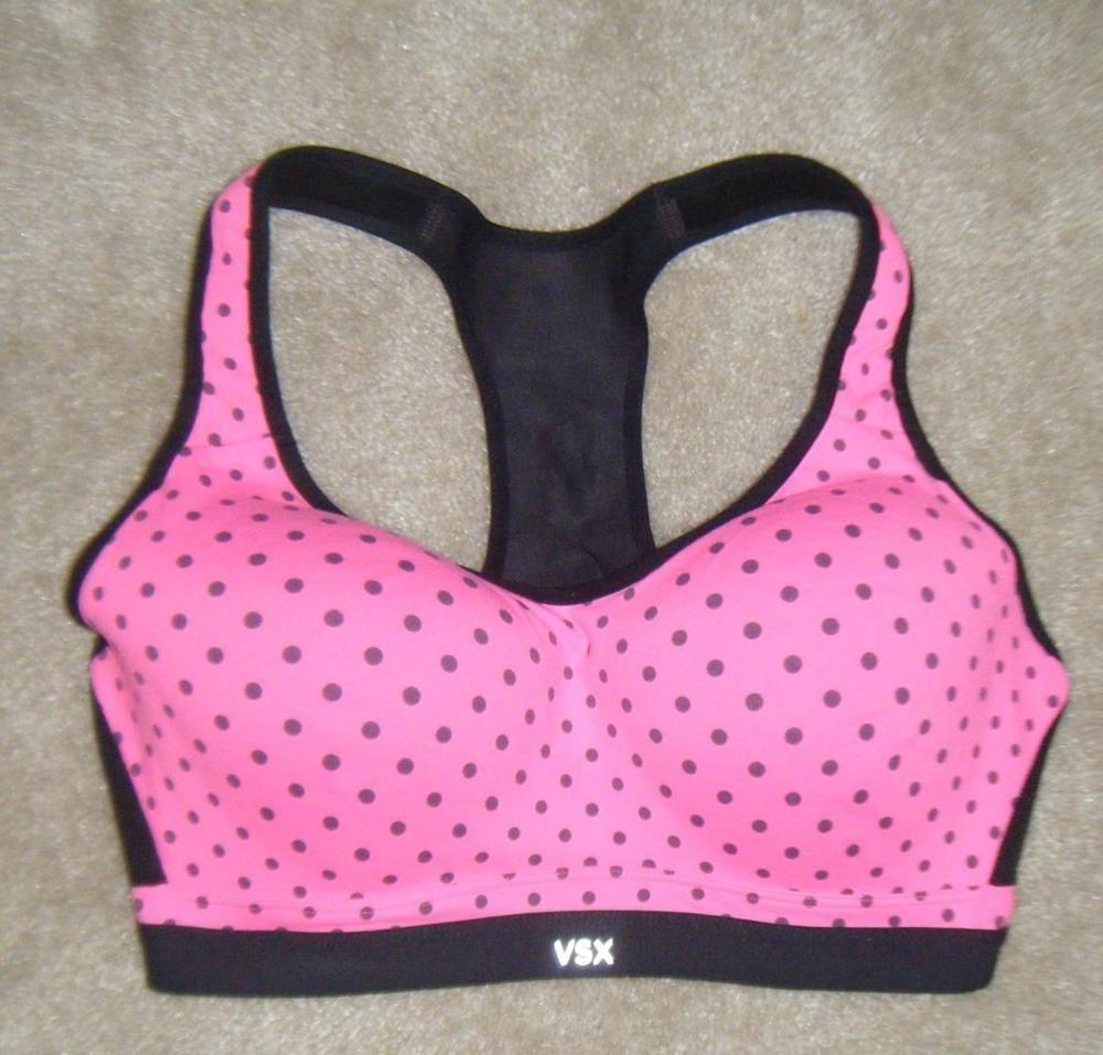 Victoria's Secret VSX Pink Black Polka Dot Sports Bra