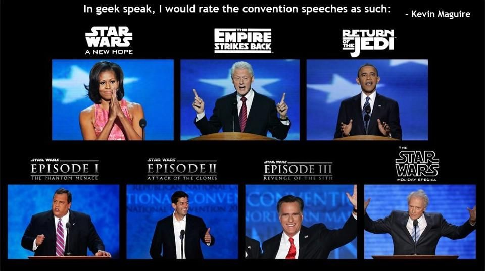 If the RNC and DNC events were Star Wars movies ... lol.