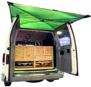 Exterior Van Rear View Awning Camper Vans Minivan