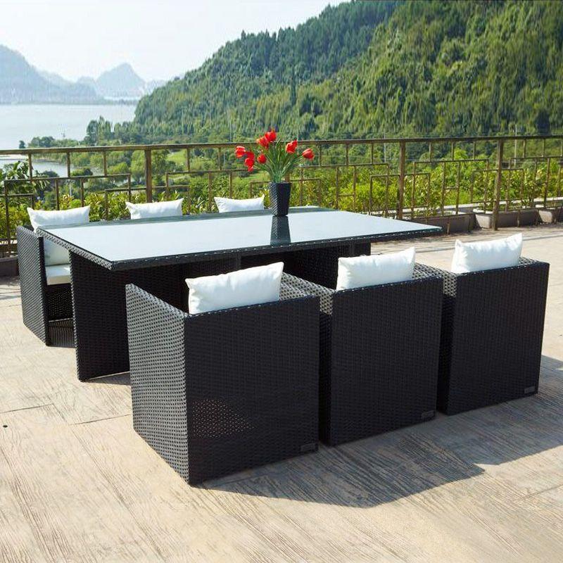 OUTFLEXX® Tischgruppe 6x Sessel, Tisch inkl Kissen-Set Garten - lounge gartenmobel outlet