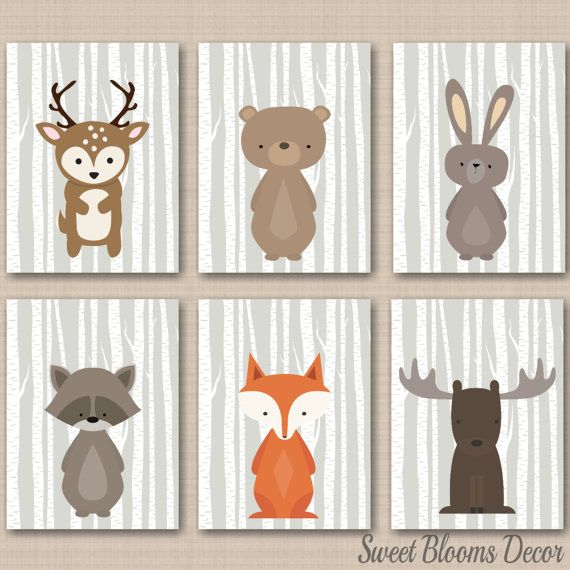 Nursery Decor Nursery Wall Art Baby Woodland Forest Animals Art Print Unframed