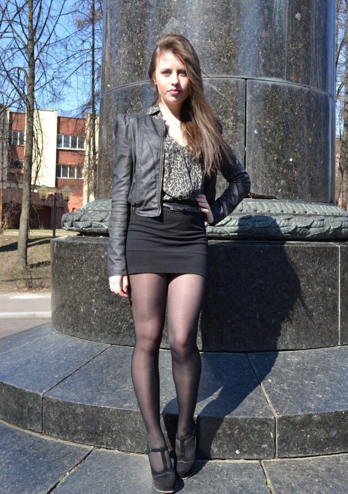 Astonishing Teen In Miniskirt And Shiny Tights Pantyhose