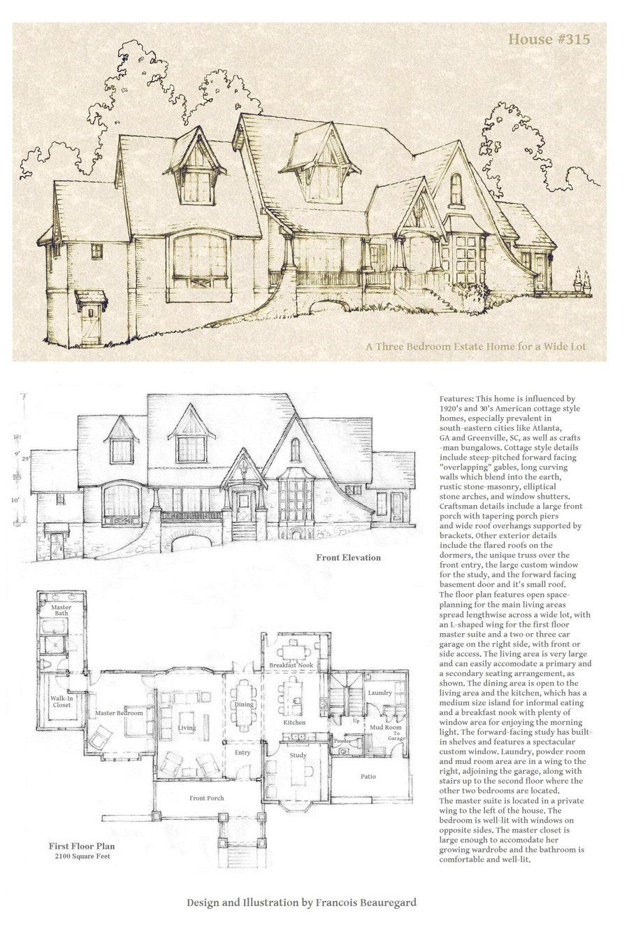 Updated Version Of House 337 All Pencil Done By Hand Look In Gallery For Full Plans For This House Includ Vintage House Plans Cottage House Plans How To Plan