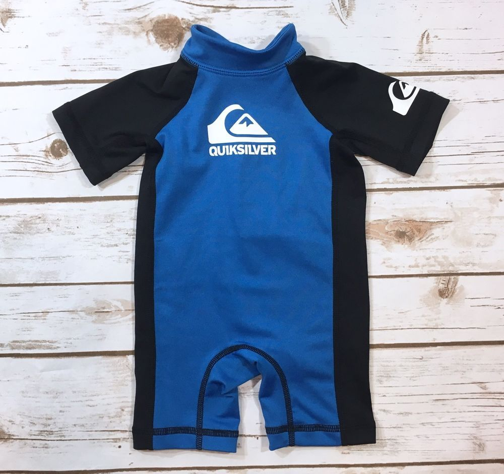 d52a379eb61e Quiksilver Baby Boy Size 6 9M Rashguard One-Piece Infant Swimsuit Blue  Black