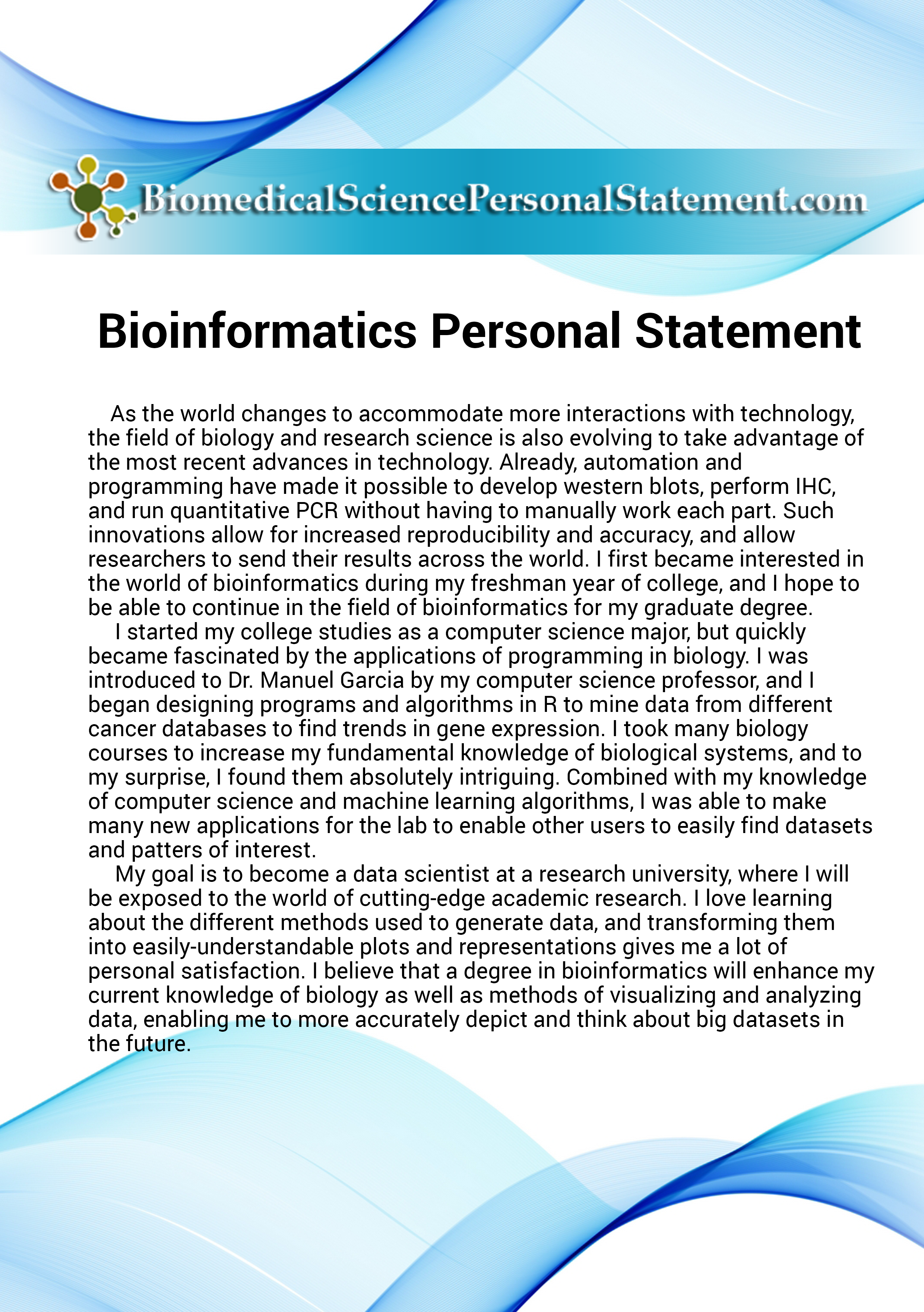 Personal Statement Will Be Easier To Write After You Have Seen Thi Bioinformatic Stateme Biochemistry Examples English Phd Example