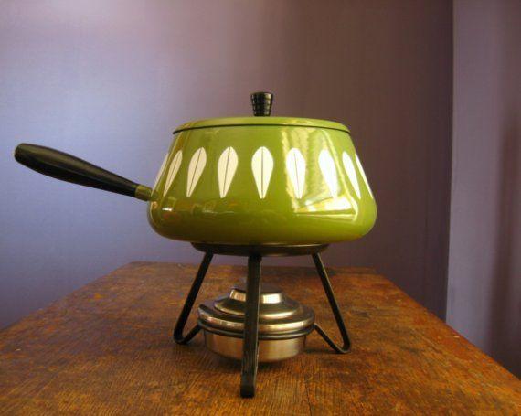 Vintage Cathrineholm Fondue Pot Set .. Lotus Pattern in Chartreuse