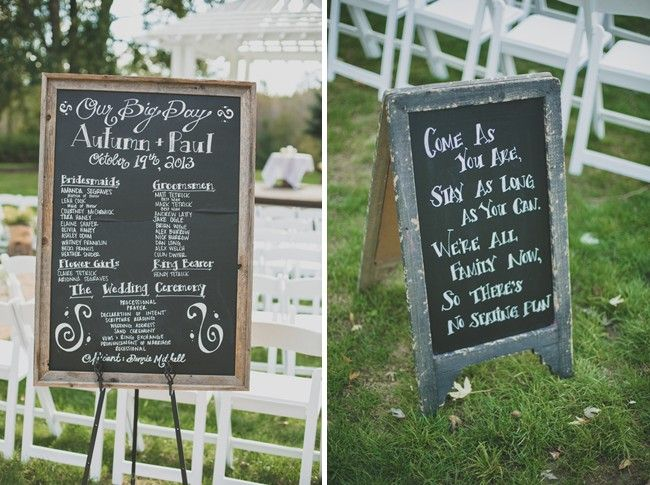 Chalk Boards For A Rustic Country Wedding