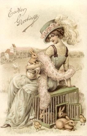 victorian era photos | An elegant Easter card showing a beautiful ...