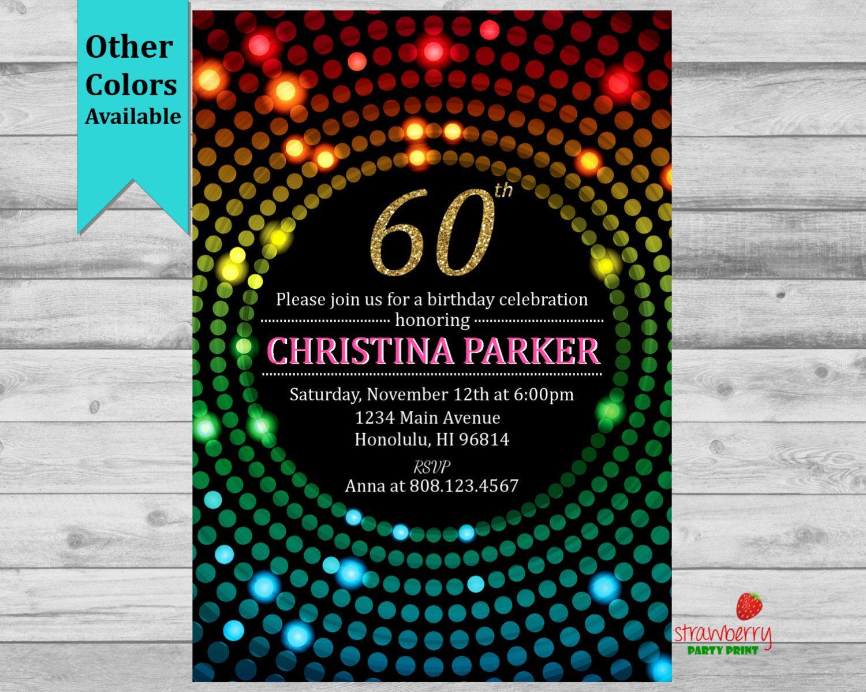60th Birthday Invitation Adult Golden Invite For