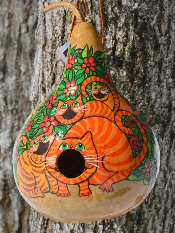 Original Hand Painted Gourd Art Birdhouse Design by Gourdament ... on hand decorating gourds, cat pumpkins, cat blue eyes, owl gourds, dog gourds, different gourds, flamingo gourds, cat gourd art, witch gourds, ornaments from gourds, apache gourds, cat bird houses, chicken gourds, bear gourds, primitive gourds, bird gourds, cat bird seat, funny gourds, frog gourds, cheap dried gourds,