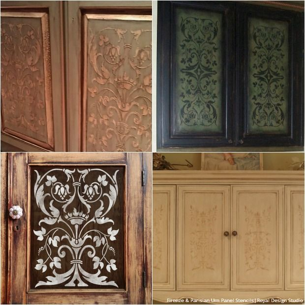 Elegant 20 DIY Cabinet Door Makeovers And Painting Ideas With Furniture Stencils  From Royal Design Studio