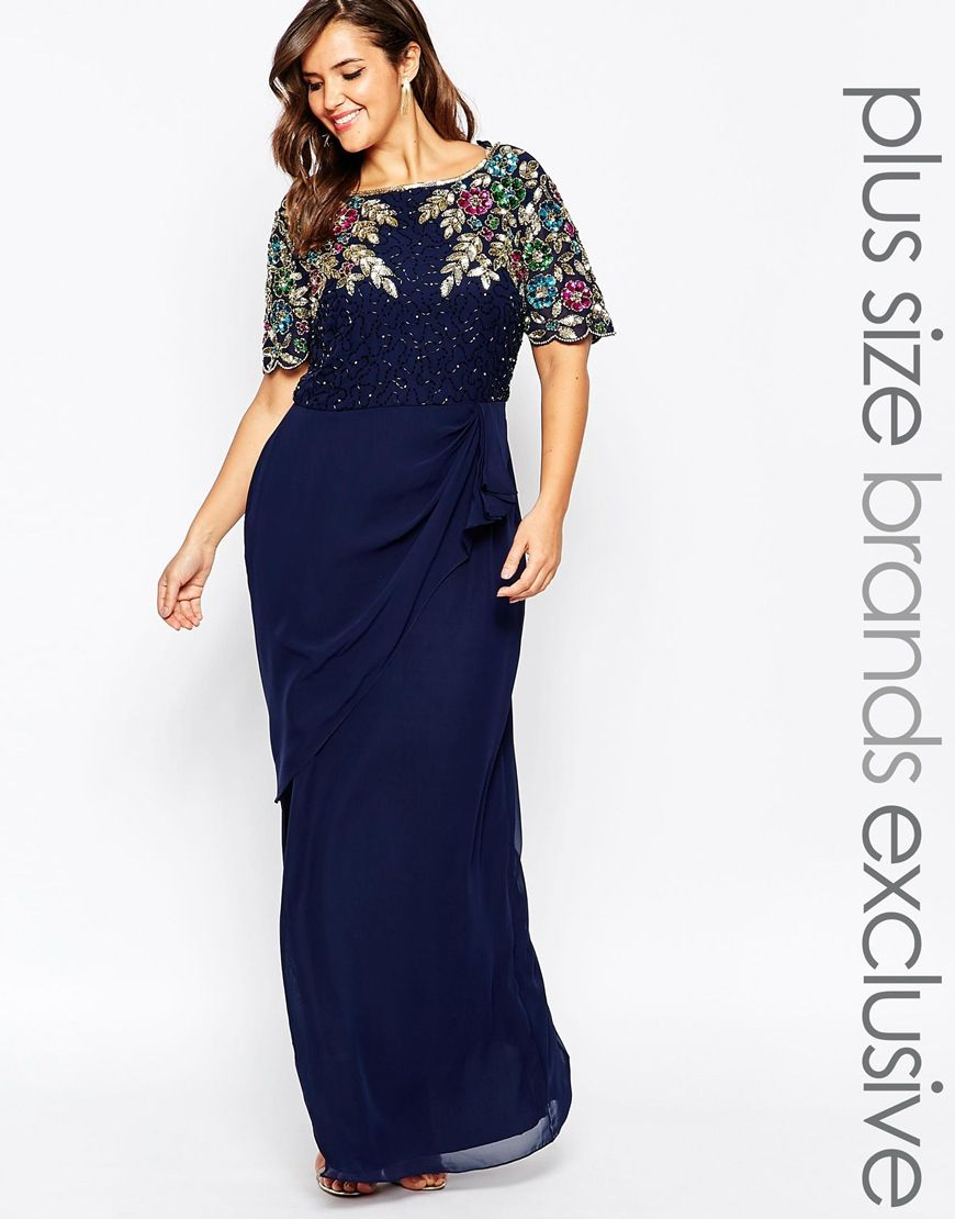 Virgos Lounge Plus Ariann Embellished Maxi Dress With Frill Wrap ...