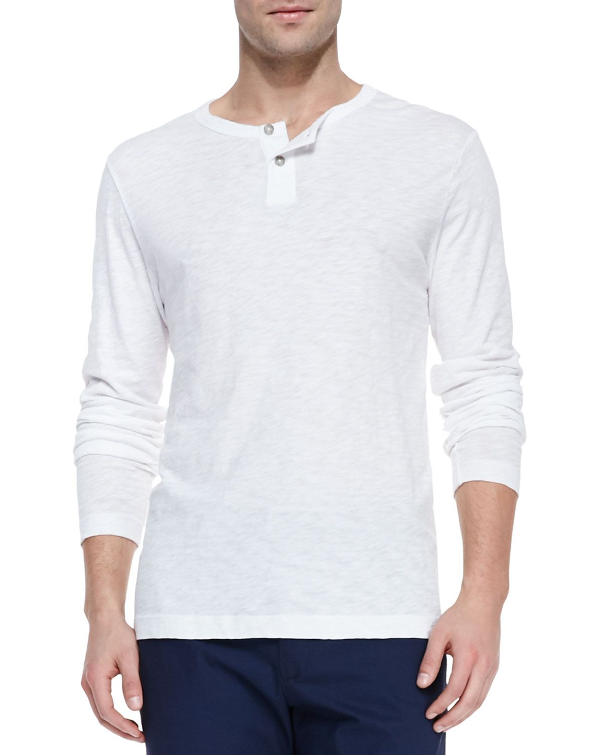 ba7f440f Long-Sleeve Two-Button Henley Shirt, White, Men's, Size: XX-LARGE - Theory