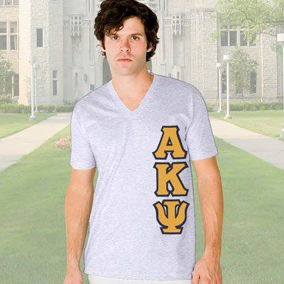 Alpha Kappa Psi V-Neck T-Shirt - Vertical - American Apparel 2456 - TWILL
