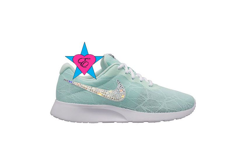 brand new c05cb 638da Custom Crystal Sneakers for Women | Mint Tiffany Nike Tanjun ...