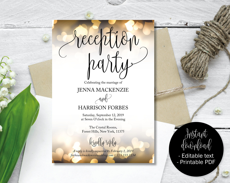 Wedding Reception Party Invitations Wedding Invitations Wedding Invitation Printable Wedding