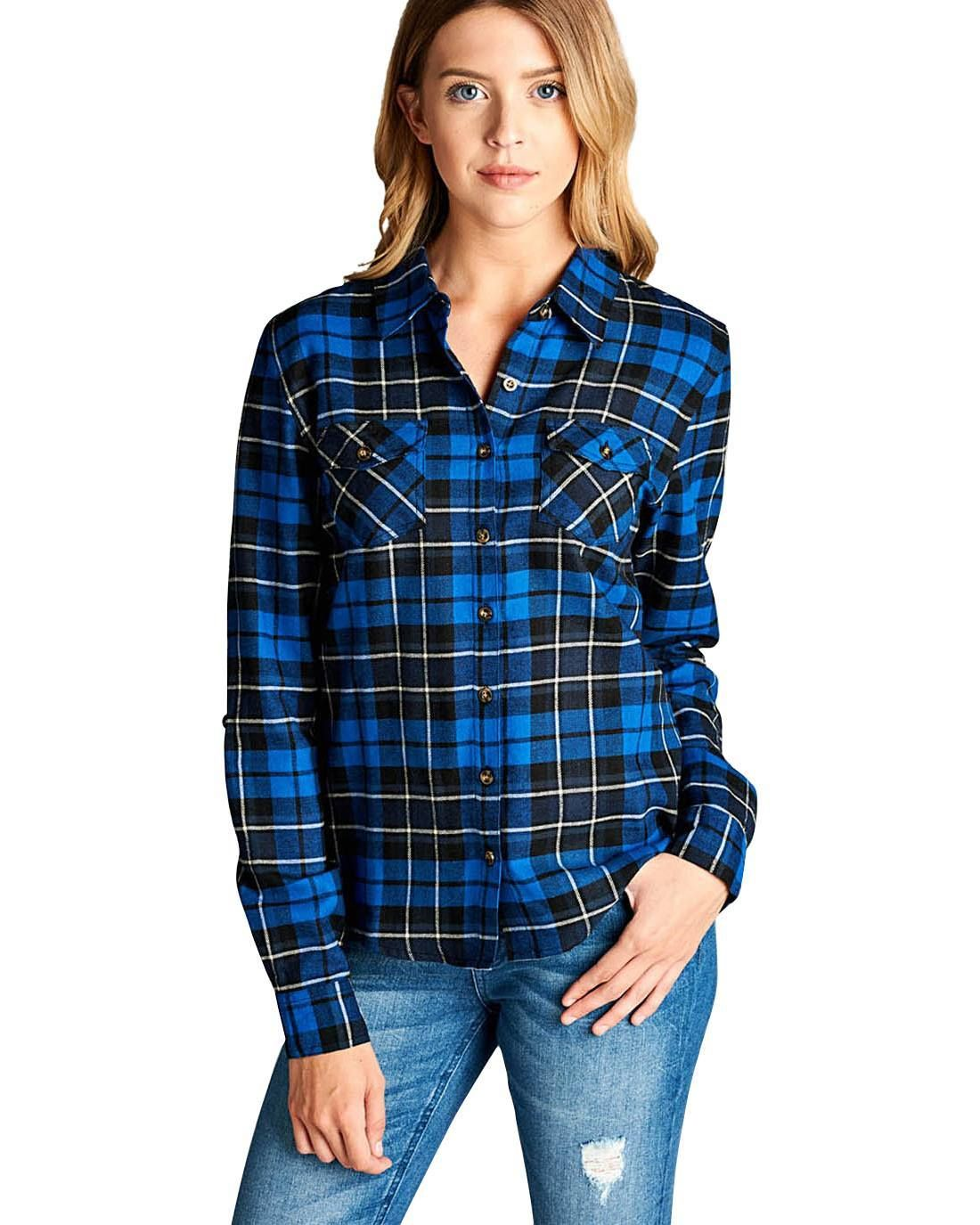 Flannel shirt jeans  Blue Plaid Collar Shirt  Products  Pinterest  Collar shirts and