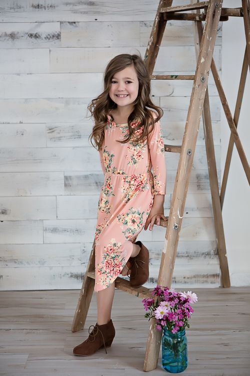b8accec58874e Pink Floral Midi Dress, Floral Dress, Cinched Dress, Fashion, Ryleigh Rue,  Kids Clothing, Kids Boutique, Online Shopping, Online Boutique, Boutique